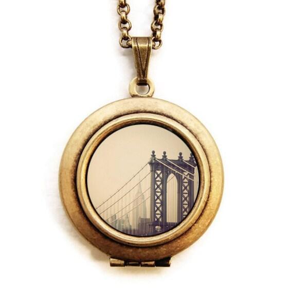 First We Take Manhattan - New York Manhattan Bridge Photo Locket Necklace