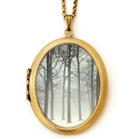 Ink And Snow - Fine Art Photo Locket Necklace - Grande Edition