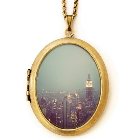 New York Nights - Photo Locket - NYC Skyline at Twilight Photo Locket Necklace