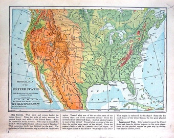 Map of the United States - Physical Map - 1898 Antique Map - World Atlas Book Page - 12 x 10