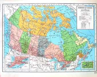 Dominion of Canada, Nova Scotia, New Brunswick, Prince Edward Island Map - 1947 Large 2 Sided Book Plate from Vintage World Atlas