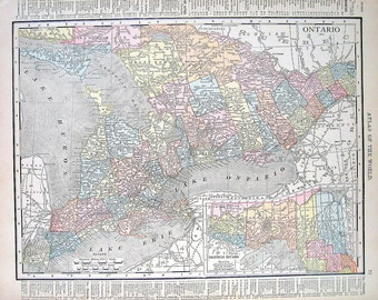 1914 Antique Map - Ontario and Quebec Map, Canada Map - World Atlas Book Page - 2 Sided -14 x 12