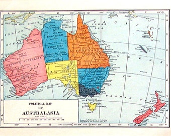 Small Vintage Map - Political Map of Australasia, East India Islands, Straits Settlements, Malay States - 1926 World Atlas Map - 8 x 6