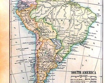 1912 Antique Colored Map of South America - Small Map - 9 x 7