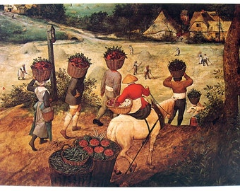 Bruegel the Elder - Haymaking - July and The Fair at St George's Day - Vintage Book Page - 1975 Reproduction Print - 16 x 11