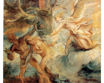 The Expulsion of Adam and Eve from the Garden of Eden - Anthony van Dyck - Masterpiece Painting - 1994 Vintage Print Reproduction - 12 x 9