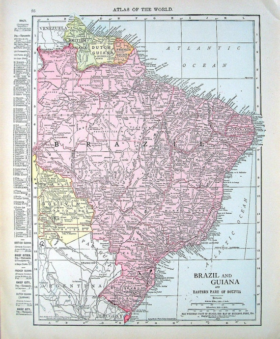 1914 Antique Map - Map of Colombia and Venezuela, Map of Brazil and Guiana - World Atlas Book Page - 2 Sided -14 x 12