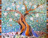 Blue Tree of Life Print - Limited Edition Giclee Print - Glass Mosaic Art - Oak Tree Print - Tree of Life Art - Tree Wall Decal  Tree Mosaic
