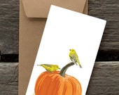 Pumpkin and Yellow Warblers - 8 Blank flat cards and envelopes