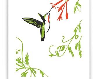 "Hummingbird and Honeysuckle 8"" x 10"" Art Reproduction"