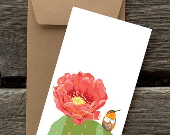 Hummingbird on Cactus Paddle - 8 Blank flat cards and envelopes