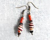 Vintage Glass Bead Earrings / Dangle Earrings / Tribal / Handmade / One of a Kind / Eco Friendly Jewelry by Luluanne