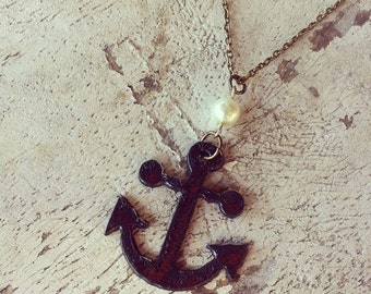 """Aged Metal Anchor Pendant on 30"""" Antique Brass Chain Necklace"""