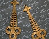 Boho Earrings, Long Filigree Earrings, Long Brass Earrings, Antiqued Brass Long Earrings, Victorian Inspired, SRAJD, JewelryFineAndDandy