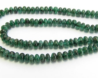 Gorgeous Natural Zambian Emerald Rondelle Smooth Polished Beads 4mm - 4.5mm (20 beads)