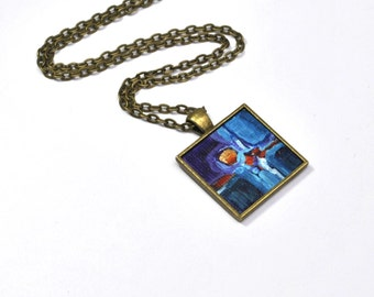 Pendant Necklace ,  Original Acrylic Painting , Hand Painted, Blue, Purple, Necklace, Handpainted Pendant,  One of a Kind