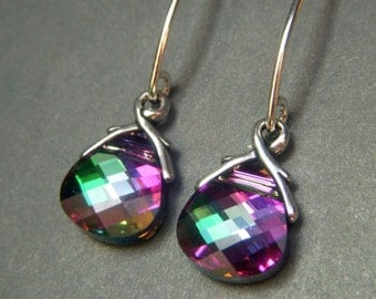 Swarovski Crystal Earrings Sterling Silver, Rare Electra Rainbow Color Briolette Dangle, Special Coating Crystal Carnival Earrings