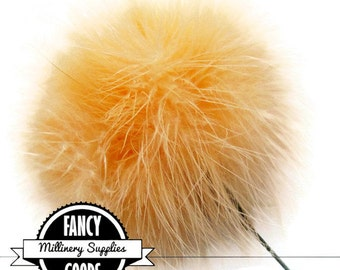 SALE - Cantalope - Feather Pom Pom Pick - Marabou - Ostrich Feather -  Poof - Millinery Feather - Bouquet Pick