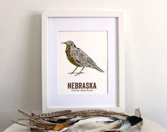 Nebraska State Bird, Nature Art, Outdoor Art, Vintage Map Art, Art Print