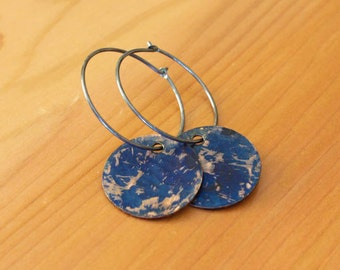 Oxidized Sterling Silver Hoop Earrings with Blue Distressed Patinated Copper Discs - Spatter // A258