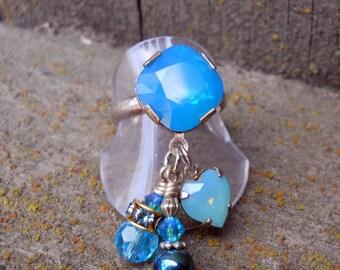 Renaissance Ocean Blue Swarovski Crystal Ring Size 6.75