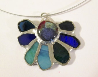 Stained Glass Pendant with Lampwork Cab Centerpiece - Dewdrop