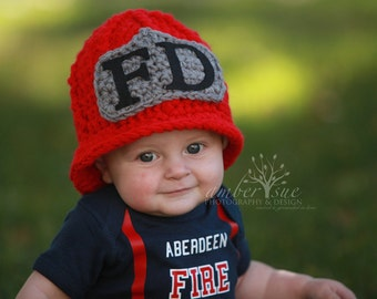 Firefighter hat  Fireman Hat newborn to preteen ,  baby hat photography prop ,custom colors