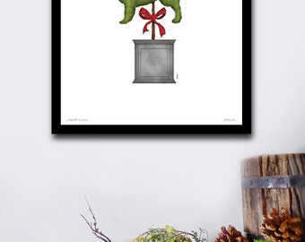 Golden Retriever topiary dog garden artwork illustration by stephen fowler geministudio UNFRAMED
