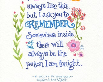 Hand Lettered Calligraphy Print Tender is the Night F. Scott Fitzgerald Love Quote