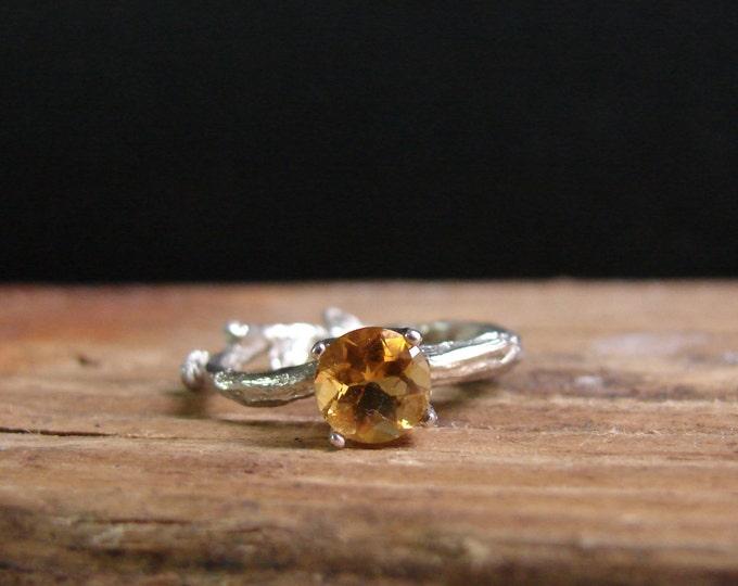 Gold Citrine Twig Ring Alternative Engagement Botanical Ring November Birthstone