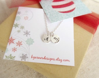 Personalized silver initial necklace with gift box, two initials, sterling silver monogram charm, small silver necklace, Christmas gift wrap