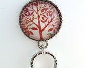 Magnetic Eyeglass Holder - Red Tree on White Background Photoglass Cabochon