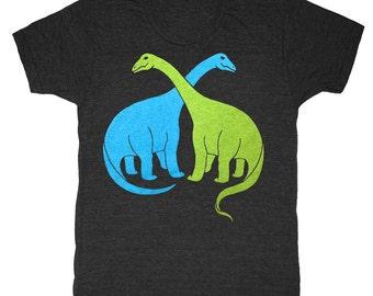 Brontosaurus T-shirt - Unisex Mens Retro SciFi Tee Shirt Awesome Dino Geek Vintage Trex Tyrannosaurus Rex Dinosaurs Retro Science Tshirt