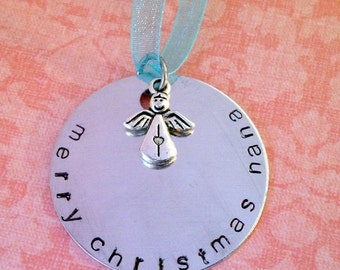 Hand Stamped  Merry Christmas Mom, Grandma, Nana, Sister Custom Ornament