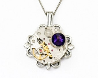 Steampunk Ornate Filigree Silver Necklace with Authentic Vintage Watch and Dark Purple Swarovski Crystal by Velvet Mechanism