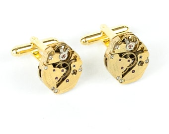 Perfectly Matched Steampunk Cufflinks with Vintage Gold Brass Sandoz Watch Movements by Velvet Mechanism