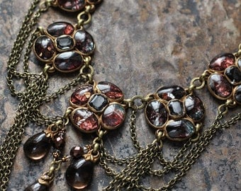 Glass cabochon claster 5 focal bib necklace with smoky quartz beads and chain swags (N-2913)