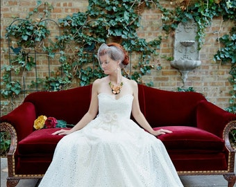 Ivory Flower Eyelet Wedding Gown, made to order