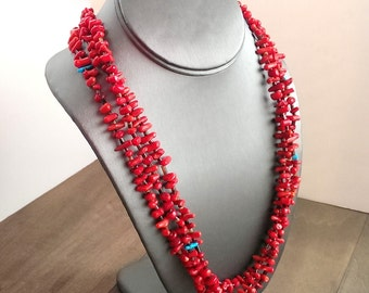 Coral and turquoise necklace - Native American multi-strand necklace - Southwest necklace