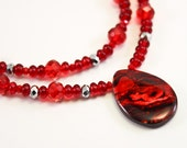 RESERVED: Berry Red Holiday Necklace, OOAK, Free Shipping, LauraMaeJewelry