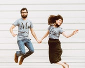 Mr. and Mrs. Tshirt set, wedding gift, his and hers t shirts, bride and groom, couples shirts, Valentines Day