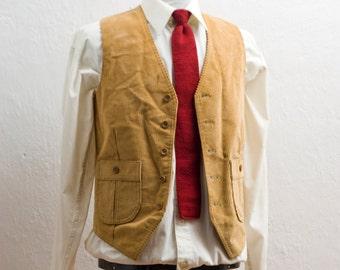 Men's Suit Vest / Small Vintage Corderoy Western Vest / Size 36