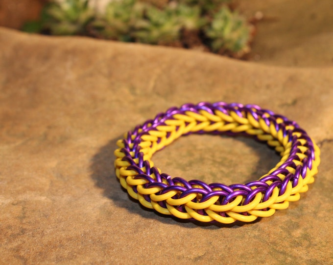 Purple and Yellow Stretchy Full Persian Chainmaille bracelet