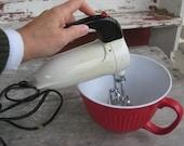 RESERVED 1950s Sunbeam Mixmaster Junior Hand Mixer Retro Mid Century Kitchen Appliance (3618-W)