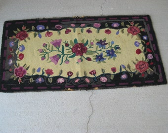 Antique Hand Hooked Rug - Black and Vibrant (3272-W)