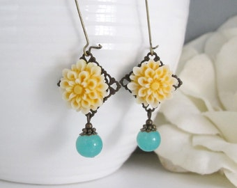 Yellow Chrysanthemums Green Drops Earrings. Long Dangle Earrings. Yellow And Green Jewelry.  Nature Inspired Woodland Earrings