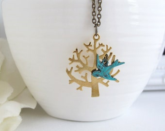 Gold Tree Necklace. Tree with Patina Antiqued Brass flying swallow Bird. Nature Inspired, Vintage Style