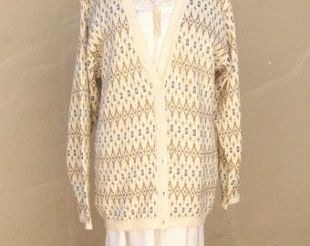 90s Ikat cardigan / Liz Claiborne slouchy librarian holiday ivory GOLD silver sparkly womens medium large