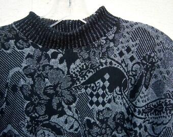 90s sweater / black metallic SILVER pullover / light weight, batwing sleeves / womens medium