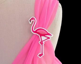 A Flamingo Love Affair Brooch / Pin - Pink Flamingo Laser Cut Acrylic (C.A.B. Fayre Original Design)